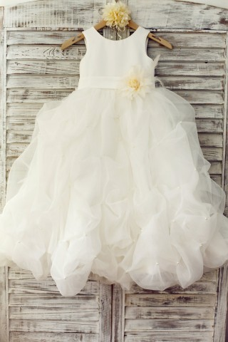 Ivory Satin Organza Ruffle Ball Gown Princess Flower Girl Dress with Feather Flower