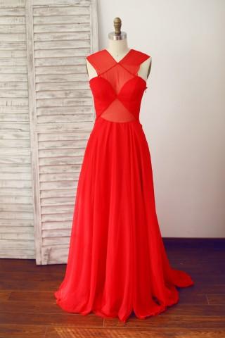 Sexy Red Sheer Chiffon Prom Evening Dress