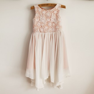 Boho Beach Lace Chiffon Wedding Flower Girl Dress