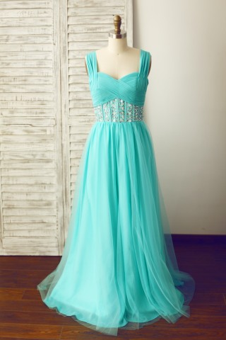 Blue Beaded Chiffon Tulle Prom Party Dress