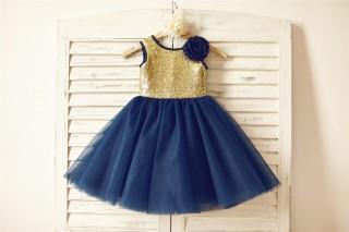 Gold Sequin Navy Blue Tulle Flower Girl Dress