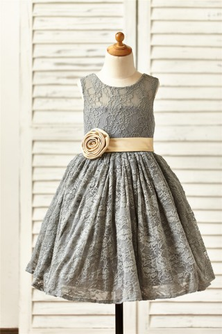Grey Lace Flower Girl Dress with champagne sash/flower