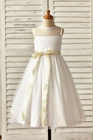 Sheer Neck Polka Dot Tulle Flower Girl Dress with champagne sash