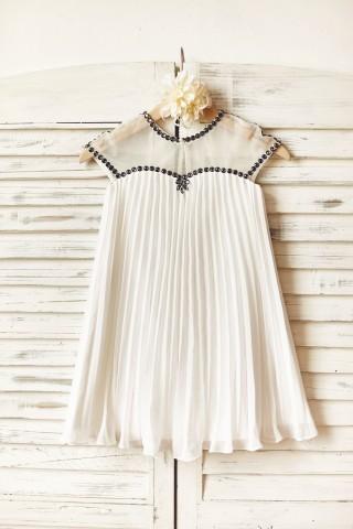 Sheer Neck Gray Beaded Ivory Chiffon Flower Girl Dress
