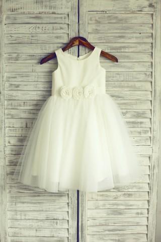 Ivory Tulle Flower Girl Dress Baby Girl Dress with Flower Sash