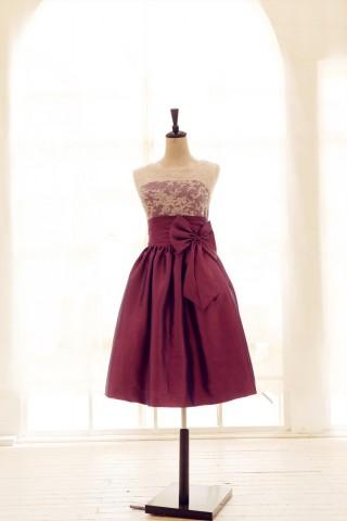 Lace Taffeta Bridesmaid Dress In knee Short Length--Dark Purple Color