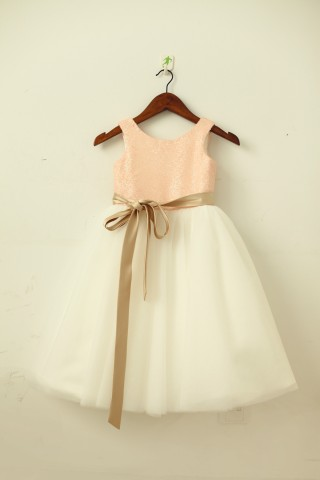 Blush Pink/Gold Sequin Ivory Tulle Flower Girl Dress with navy/champagne sash