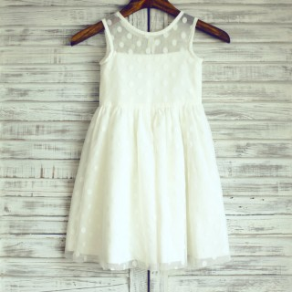 Sheer Neck Ivory Polk Dot Tulle Flower Girl Dress