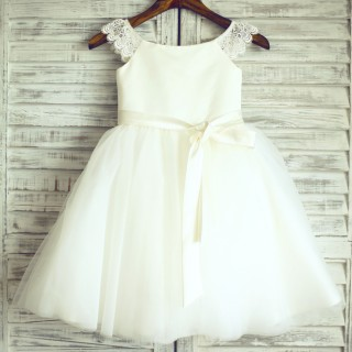 Ivory Lace Cap Sleeves Tulle Flower Girl Dress with ivory sash