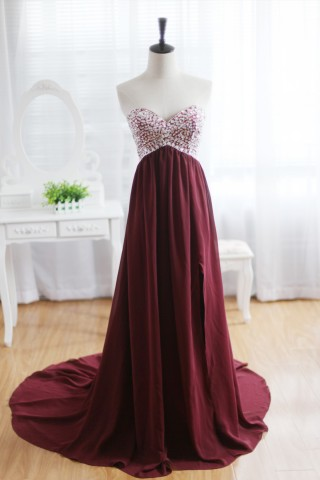 Wine Red Burgundy Chiffon Bridesmaid Dress Prom Dress Strapless Beaded Dress