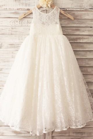 Princess Ivory Lace Keyhole Back Floor Length Wedding Flower Girl Dress