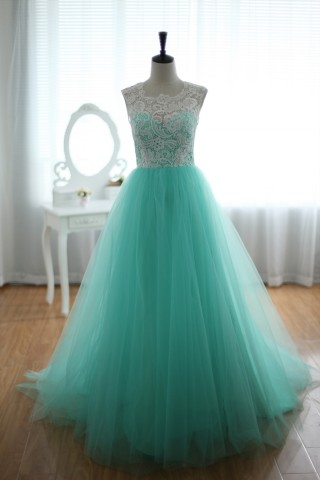 Lace Tulle Bridesmaid Dress Prom Dress Blue Tulle Ball Gown Dress