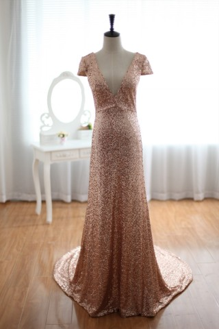 Champagne Gold Sequins Wedding  Dress Prom  Dress  Evening Gown with Cap Sleeves