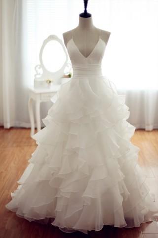 Organza Ball Gown Wedding Dress Backless Dress