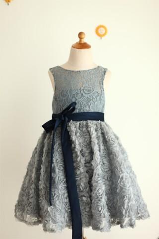 Gray Lace Rosette Keyhole Back Flower Girl Dress