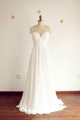 A Line Sweetheart Beaded Cap Sleeves Chiffon Wedding Dress with Sweep Train