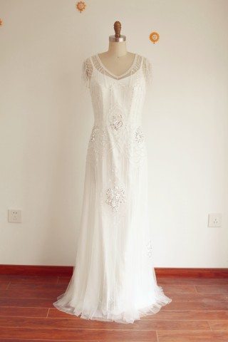 A Line Vintage 2 Pieces Beaded Tulle Wedding Dress