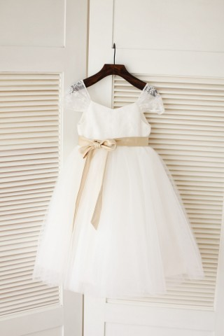 Cap Sleeves Ivory Lace Tulle Flower Girl Dress with champagne satin sash