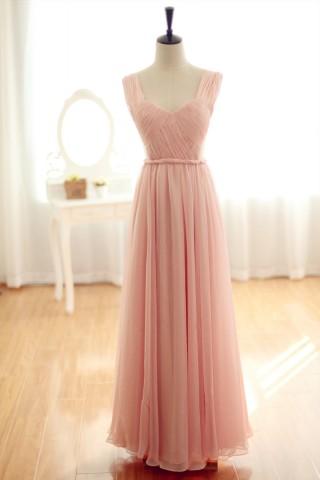 Blush pink Chiffon Bridesmaid Dress Prom Dress Backless Party Dress