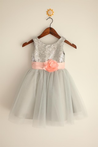 Silver Grey Sequin Tulle Flower Girl Dress with blush pink belt