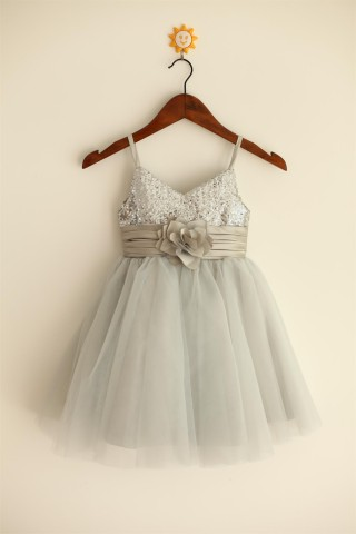 Thin Straps Silver Sequin Tulle Flower Girl Dress