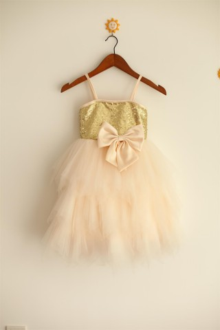 Thin Straps Gold Sequin Champagne Tulle Ruffle Flower Girl Dress