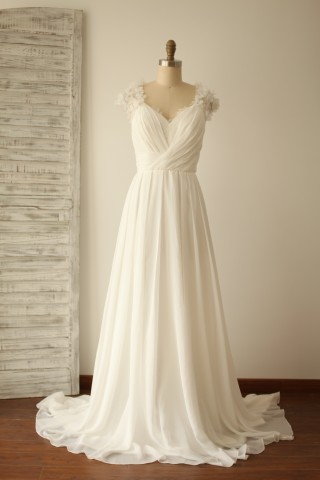 A Line Cap Sleeves Lace Chiffon Wedding Dress with Sweep Train