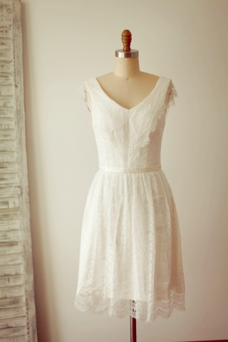 A Line V neck Cap Sleeves Short Knee Length Lace Wedding Dress