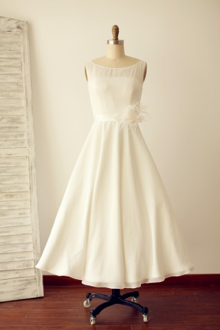 A Line Scoop Neck Chiffon Short Tea Length Wedding Dress