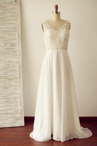 A Line V Back Beaded Lace Chiffon Wedding Dress with Sweep Train