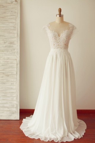 A Line Cap Sleeves Sheer Illusion V Back Lace Chiffon Wedding Dress