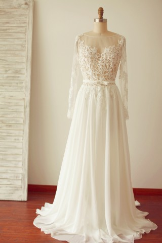 A Line Long Sleeves Backless Lace Chiffon Wedding Dress with Sweep Train