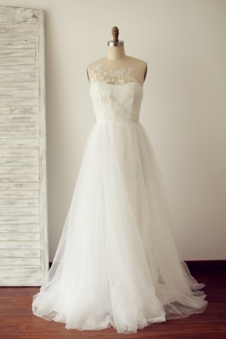 A Line Sheer Illusion Lace Tulle Wedding Dress with Sweep Train