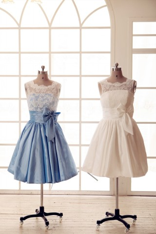 Lace Ivory/Blue Taffeta Bridesmaid Dress In knee Short Length