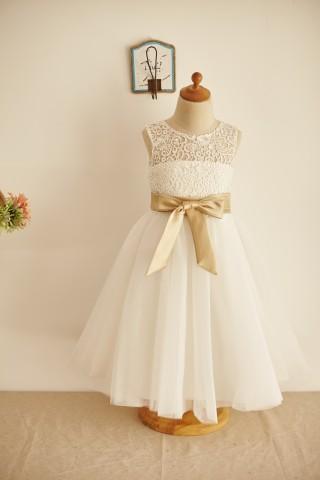 Ivory Lace Tulle Keyhole Back Wedding Flower Girl Dress with Belt
