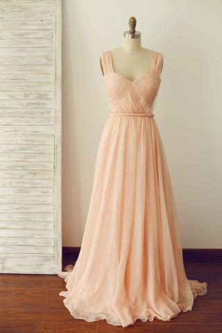 A Line Backless Peach Chiffon Prom Dress