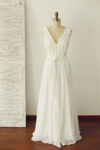 V Neck Ivory Lace Chiffon Wedding dress Bridal Gown