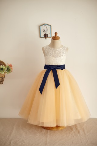 Ivory Lace Champagne Tulle Wedding Flower Girl Dress with Belt