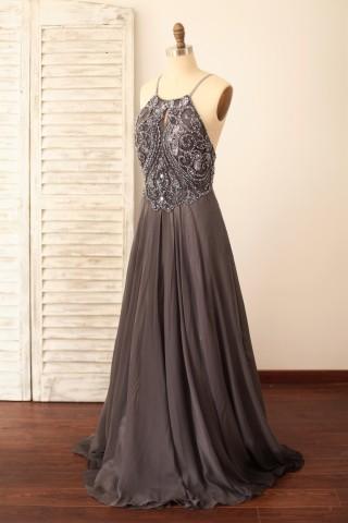 Spaghetti Straps Gray Chiffon Backless Beaded Prom Dress