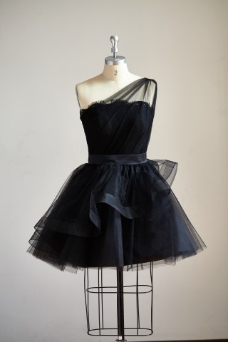 One Shoulder Black Lace Tulle Short Knee Prom Dress Cocktail Party Dress