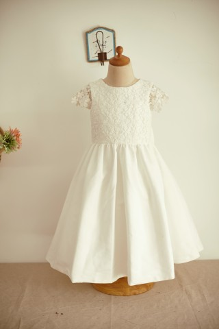 Ivory Lace Cotton Cap Sleeves Wedding Flower Girl Dress with Bow