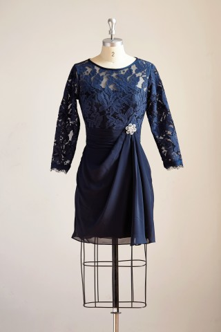 Long Sleeves Navy Blue Chiffon Lace Short Knee Length Mother Dress/Wedding Party Mother of Bride Dress