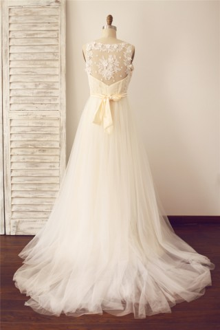 Vintage Sheer Illusion V Neck Lace Tulle Wedding Dress with Champagne lining