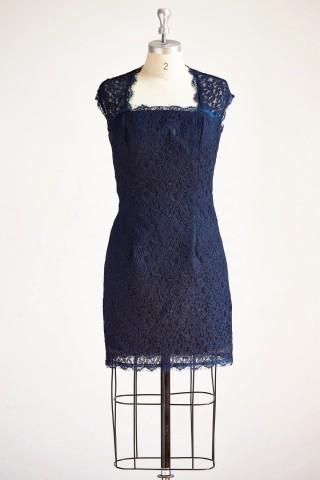 Navy Blue Keyhole Back Lace Short Knee Length Wedding Mother Dress