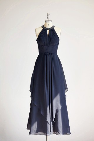 Halter Navy Blue Beaded Chiffon Long Wedding Bridesmaid Dress