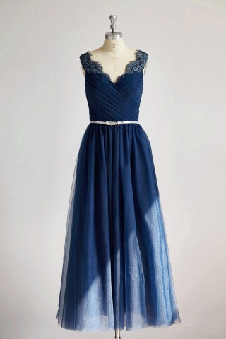 V Neck Navy Blue Lace Tulle Long Bridesmaid Dress/Wedding Party Dress