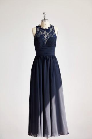 Sheer Neck Navy Blue Lace Chiffon Long Wedding Bridesmaid Dress