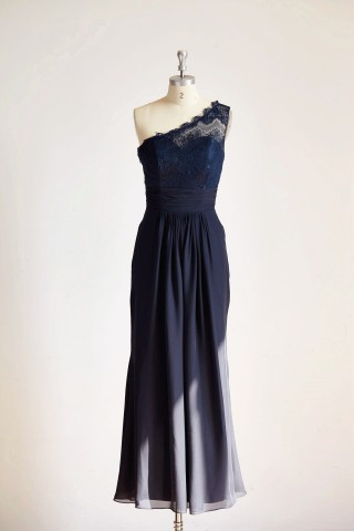 One Shoulder Navy Blue Lace Chiffon Long Wedding Bridesmaid Dress