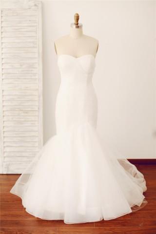 Strapless Sweetheart Mermaid Tulle Wedding Dress