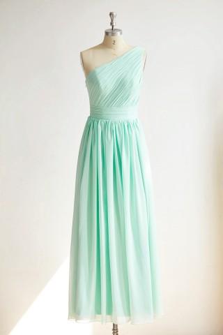 One Shoulder Mint Blue Chiffon Long Wedding Bridesmaid Dress